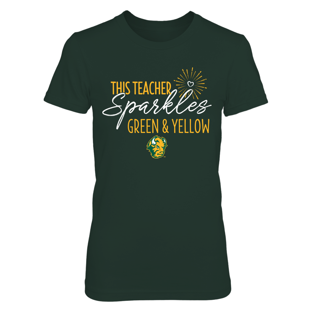 This Teacher Sparkles North Dakota Bison Colors T-Shirt | Tank Front picture
