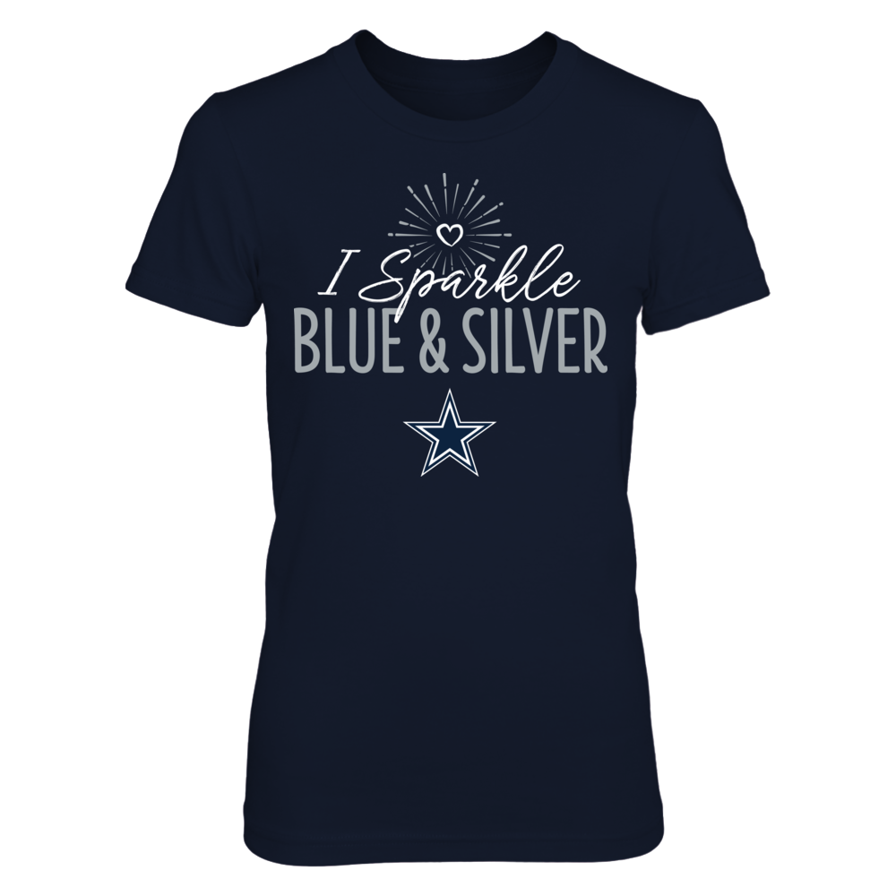 I Sparkle Blue and Silver Dallas Cowboys T-Shirt | Tank Front picture
