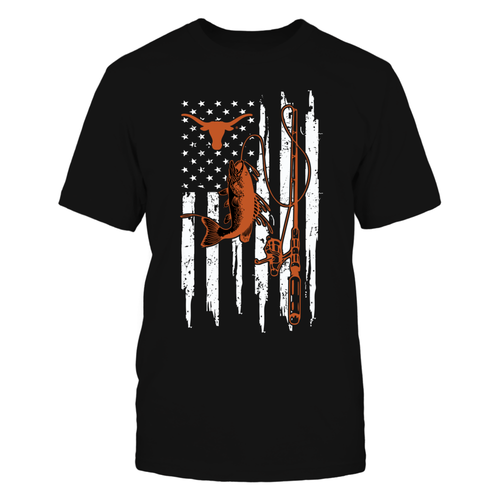 Texas Longhorns - Fishing - Fishing With American Flag Front picture