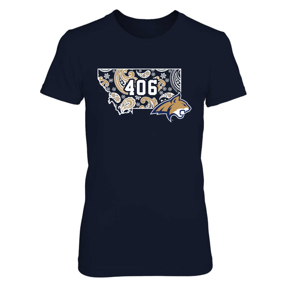 Montana State Bobcats - Paisley State Map - Area Code Front picture