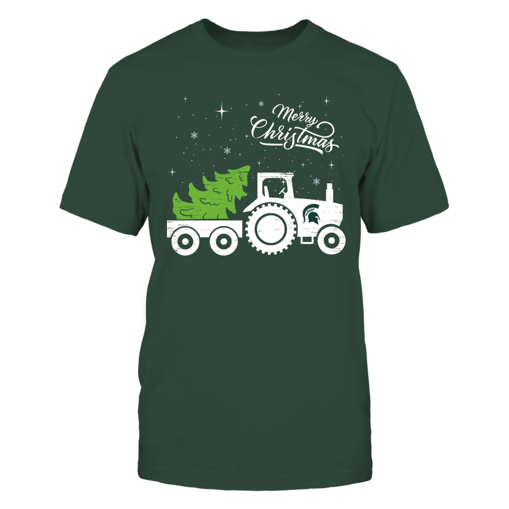 Michigan State Spartans - Christmas - Farmer - Christmas Tractor Front picture