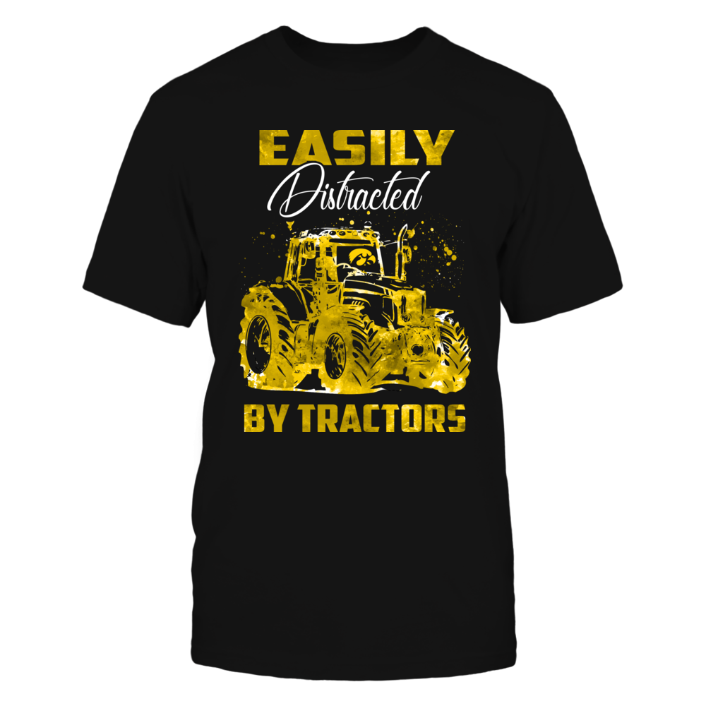 Iowa Hawkeyes - Farmer - Easily Distracted - Color Drop Tractor Front picture
