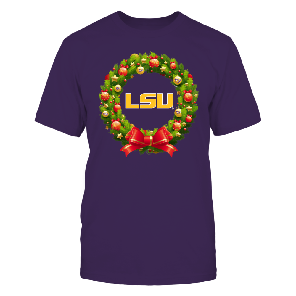 LSU Tigers - Christmas Wreath Red Ribbon Front picture