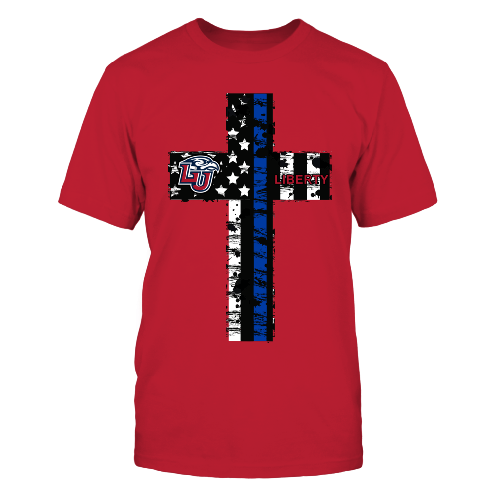 Liberty Flames - Police - Thin Blue Line Cross Front picture