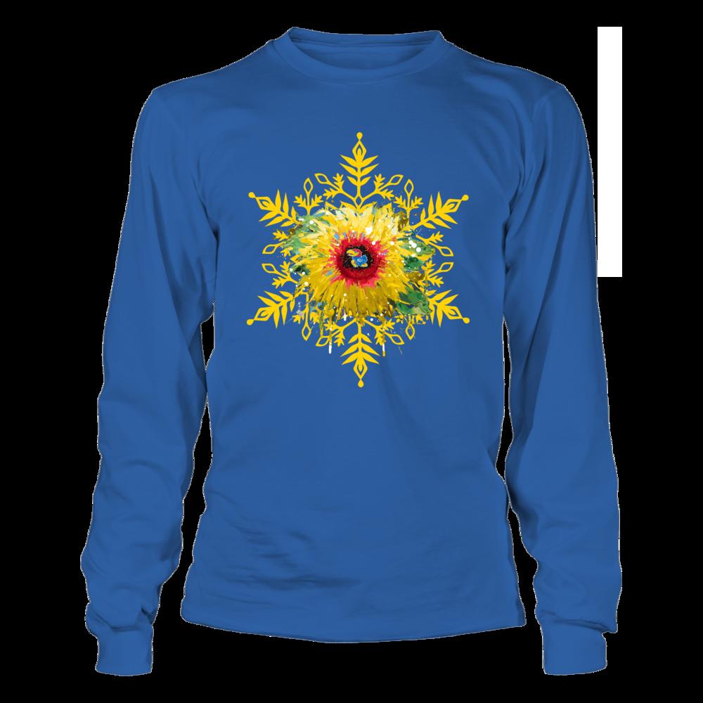 Kansas Jayhawks - Christmas - Sunflower Snowflake Front picture