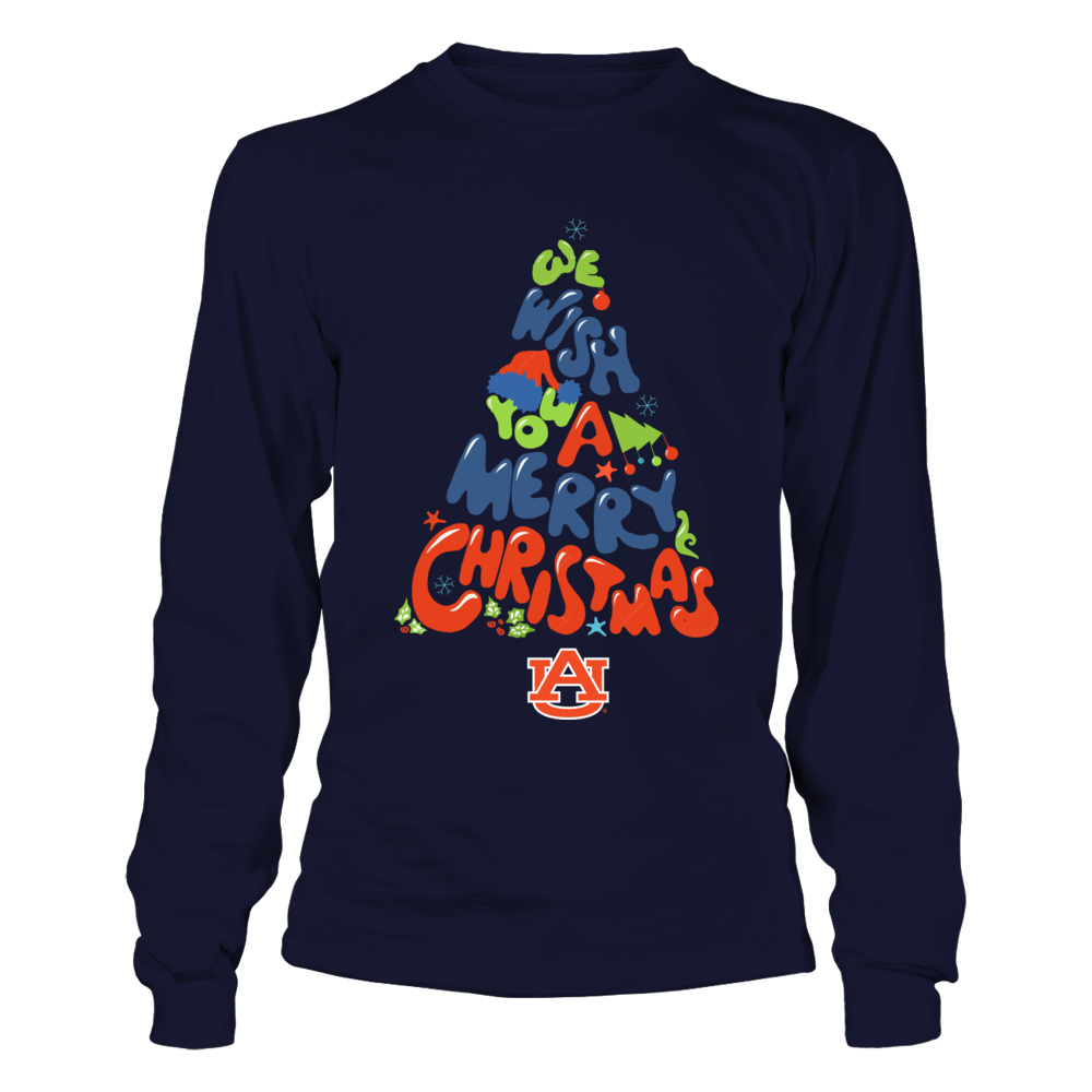 Auburn Tigers - We Wish You - Christmas Tree Logo Front picture