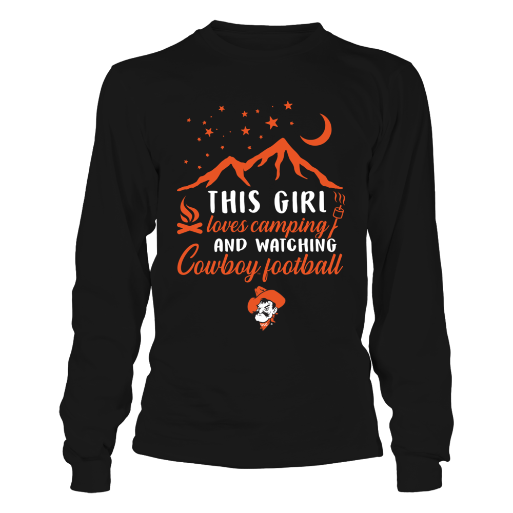 Oklahoma State Cowboys - Camping - This Girl Loves Camping And Watching Football Front picture
