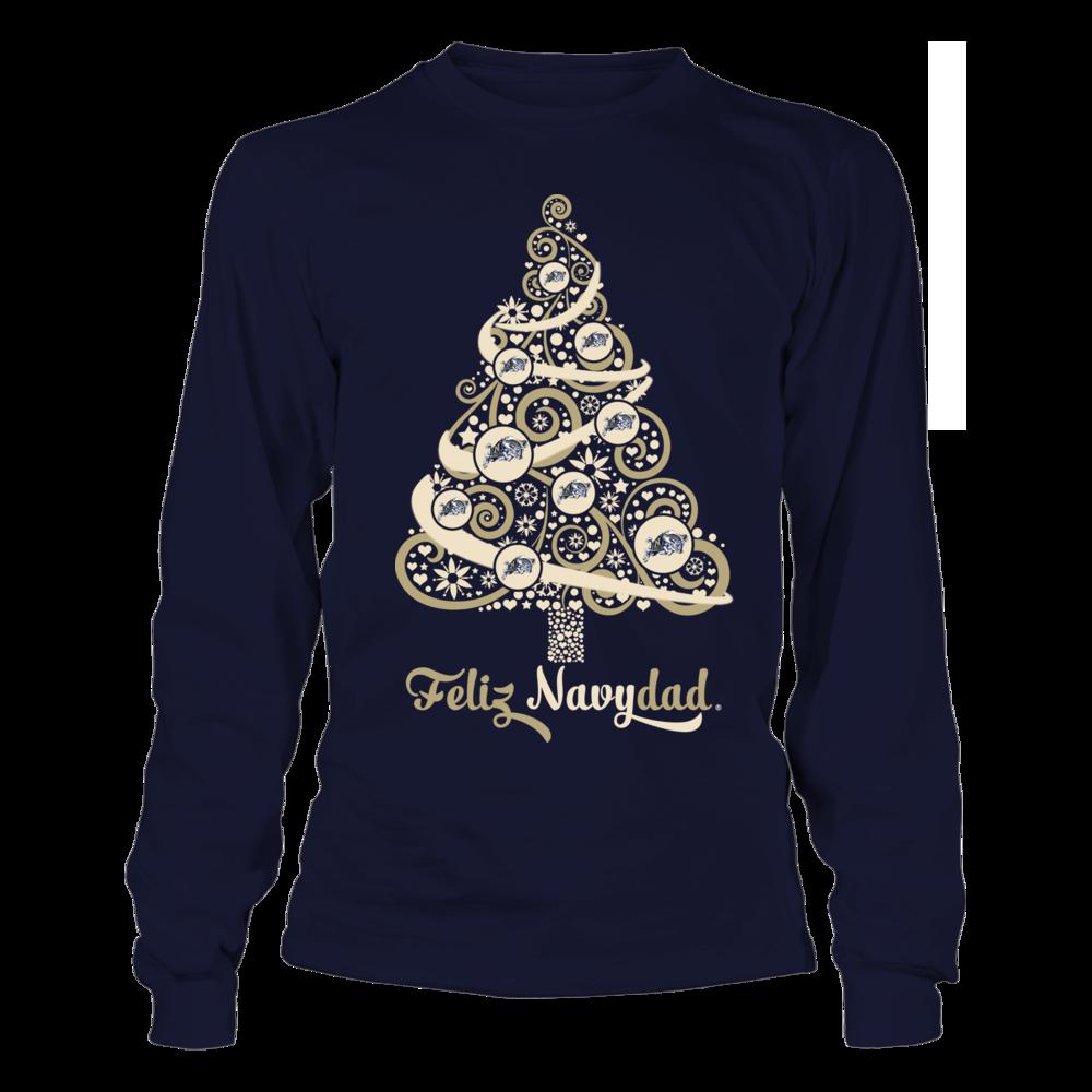 Navy Midshipmen -  Logo Christmas Tree - Feliz Navydad Front picture