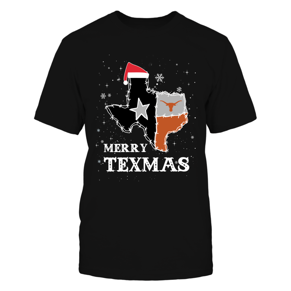 Texas Longhorns - Christmas - Merry Texmas - Barbed Wire State Flag Front picture
