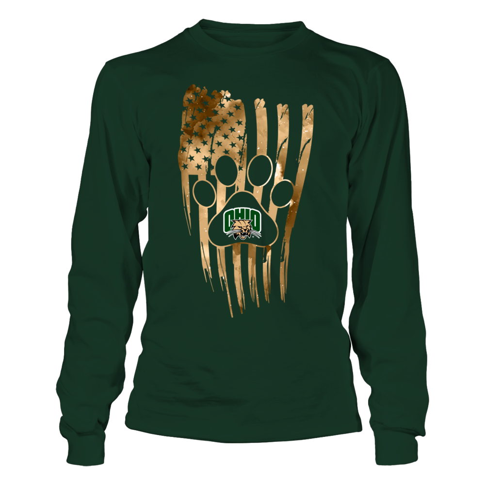 Ohio Bobcats - Paw Distressed Flag Front picture
