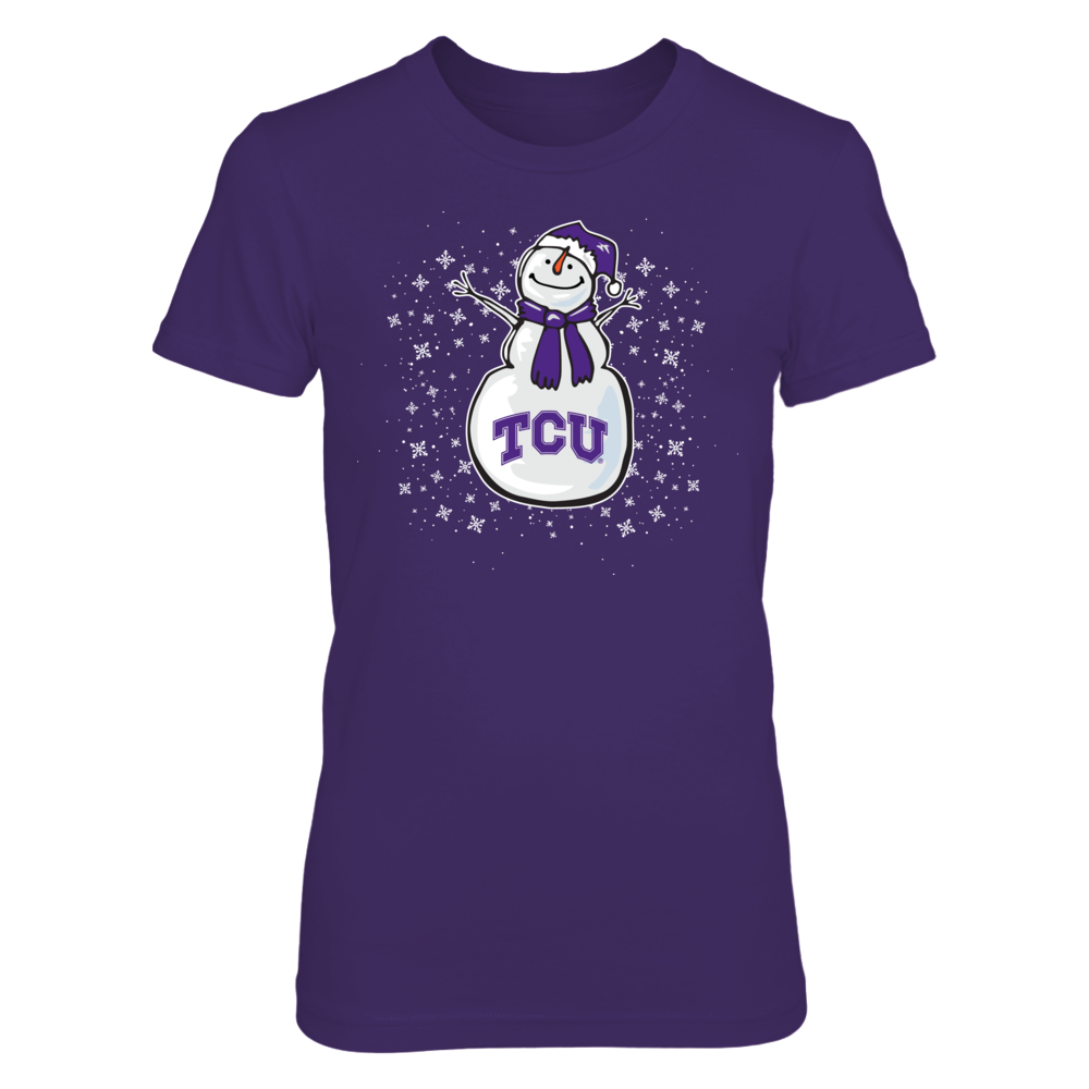 Cute Snowman TCU Horned Frogs T-Shirt | Tank Front picture