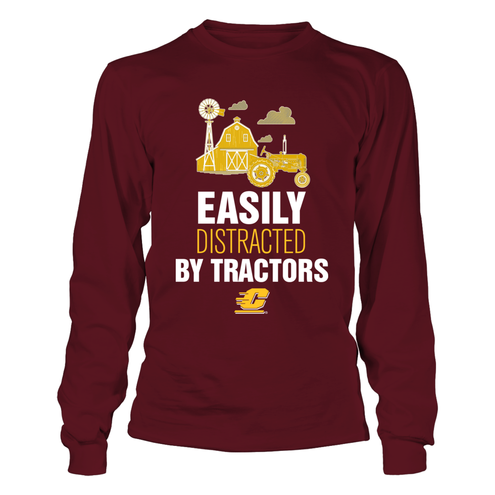 Central Michigan Chippewas - Farmer - Easily Distracted By Tractors Front picture