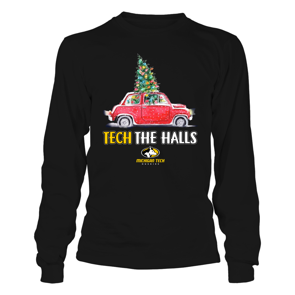 Michigan Tech Huskies - Tech The Halls Christmas Truck - Team Slogan Front picture