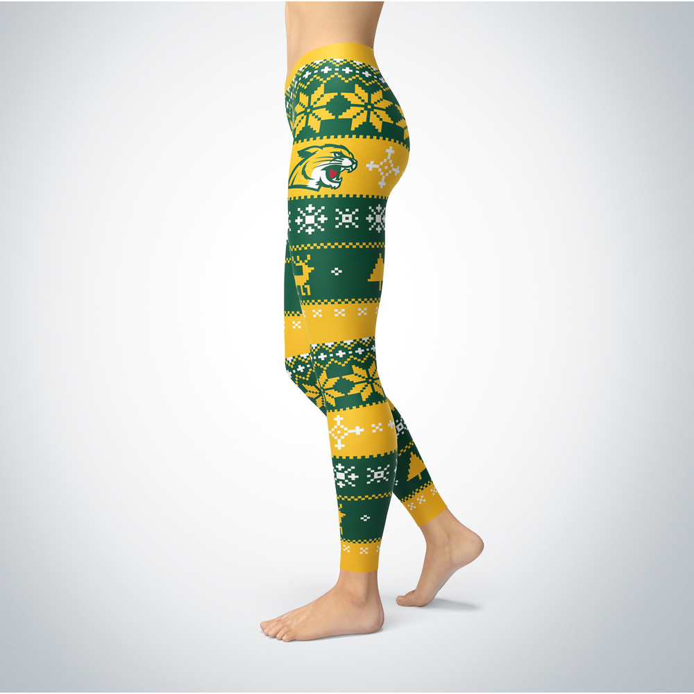 Wildcats Knitted Christmas Northern Michigan Leggings Front picture