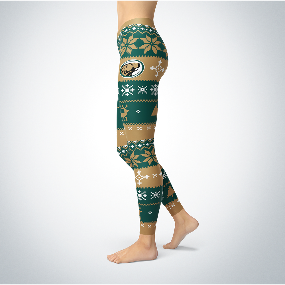 Knitted Christmas Bemidji State Beavers Leggings Front picture