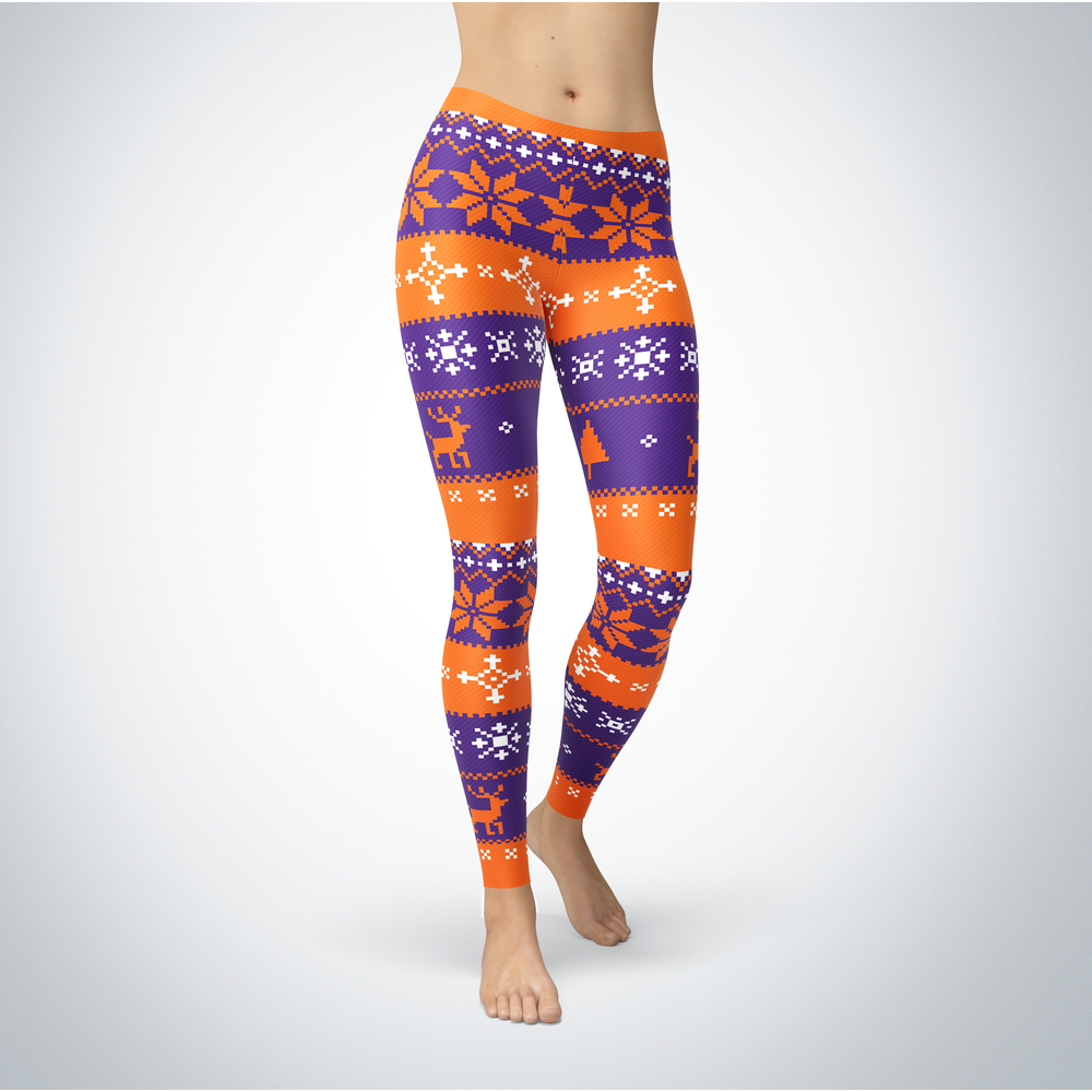 Knitted Christmas - Evansville Purple Aces - Leggings Front picture