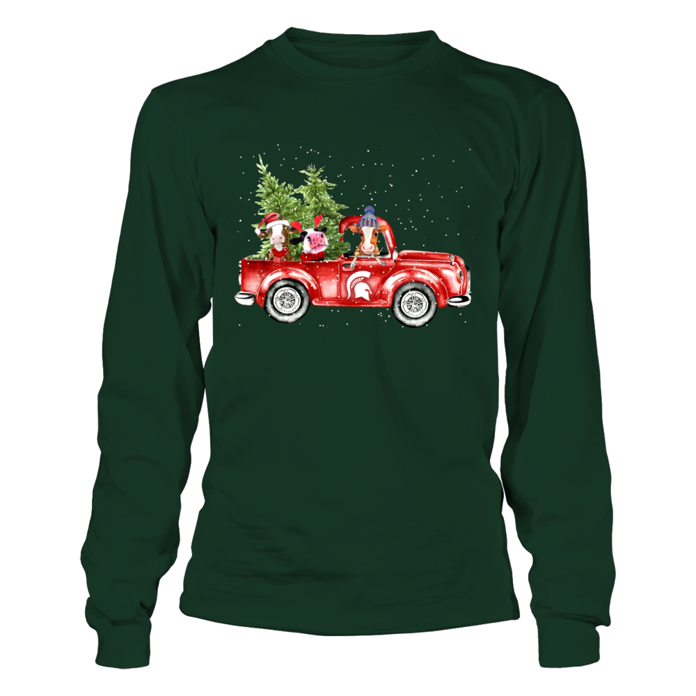 Michigan State Spartans - Farmer - Cows Christmas Truck Front picture