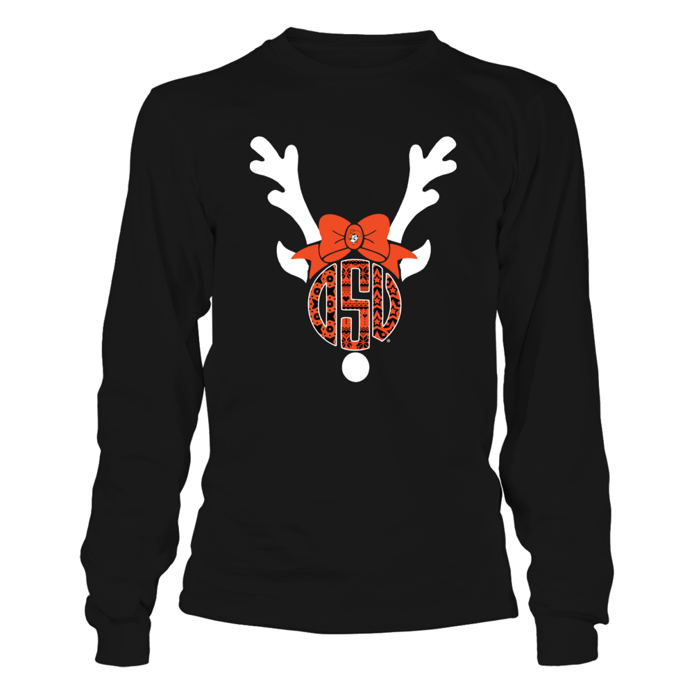 Oklahoma State Cowboys - Christmas - Patterned Monogram - Reindeer Front picture