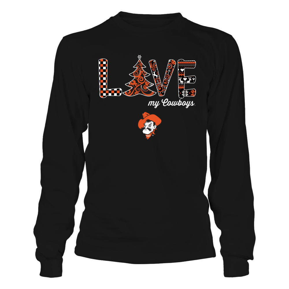 Oklahoma State Cowboys - Love Swirtly Christmas Tree Front picture