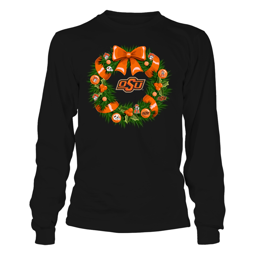 Oklahoma State Cowboys - Christmas - Team Things Wreath Front picture