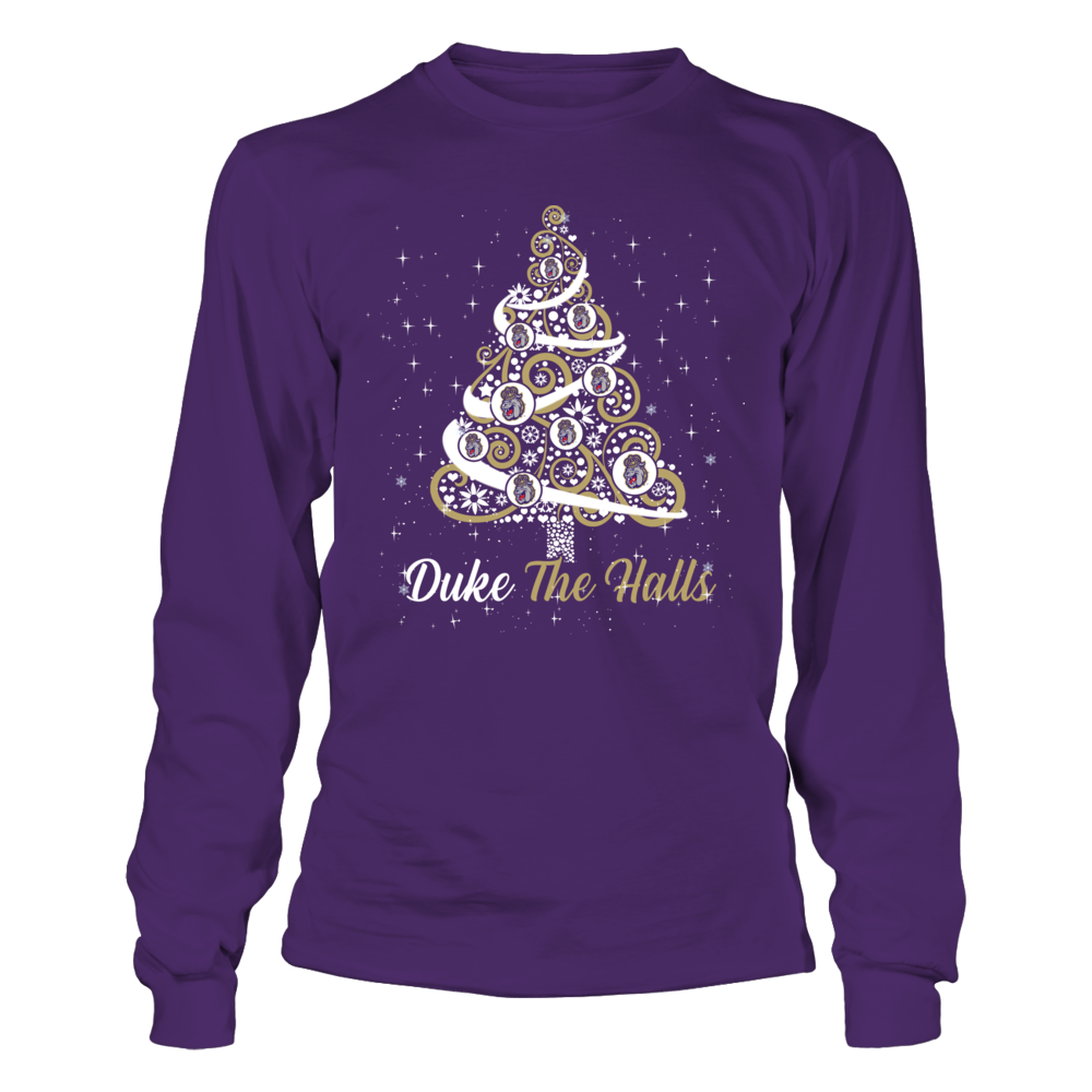 James Madison Dukes - Logo Christmas Tree - Team Christmas Quote Front picture