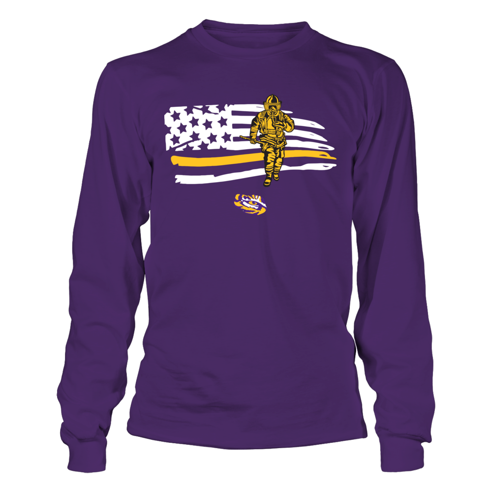 LSU Tigers - Firefighter - Firefighter Inside Distressed Flag Front picture