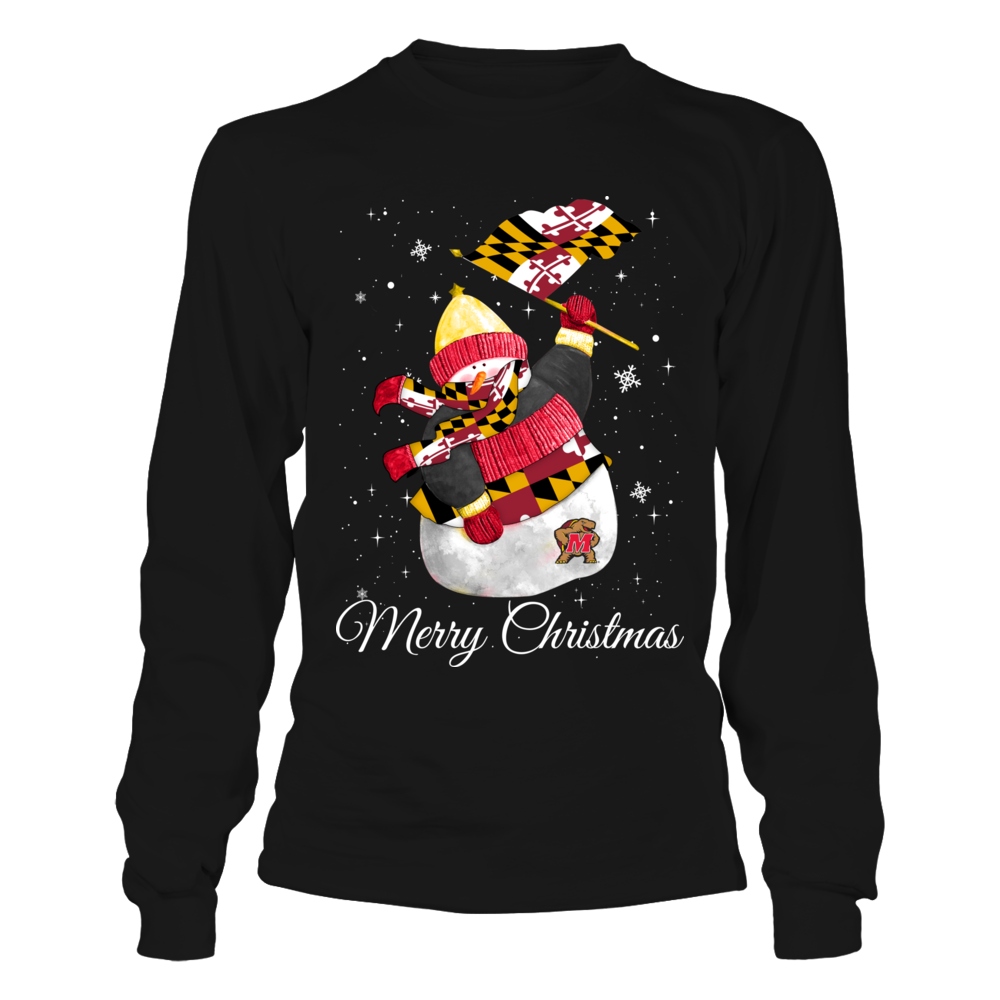 Maryland Terrapins - Christmas - Snowman Rising The Flag Front picture