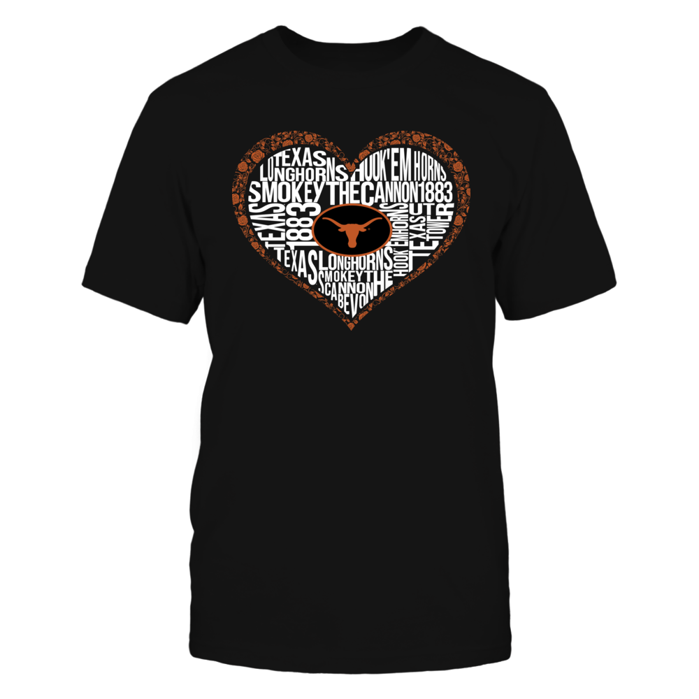 Texas Longhorns - Word Cloud Lace Heart Front picture