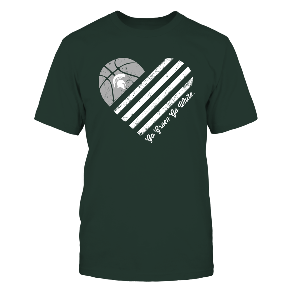 St Patricks Day Heart of Shamrock FanPrint Michigan State Spartans T-Shirt