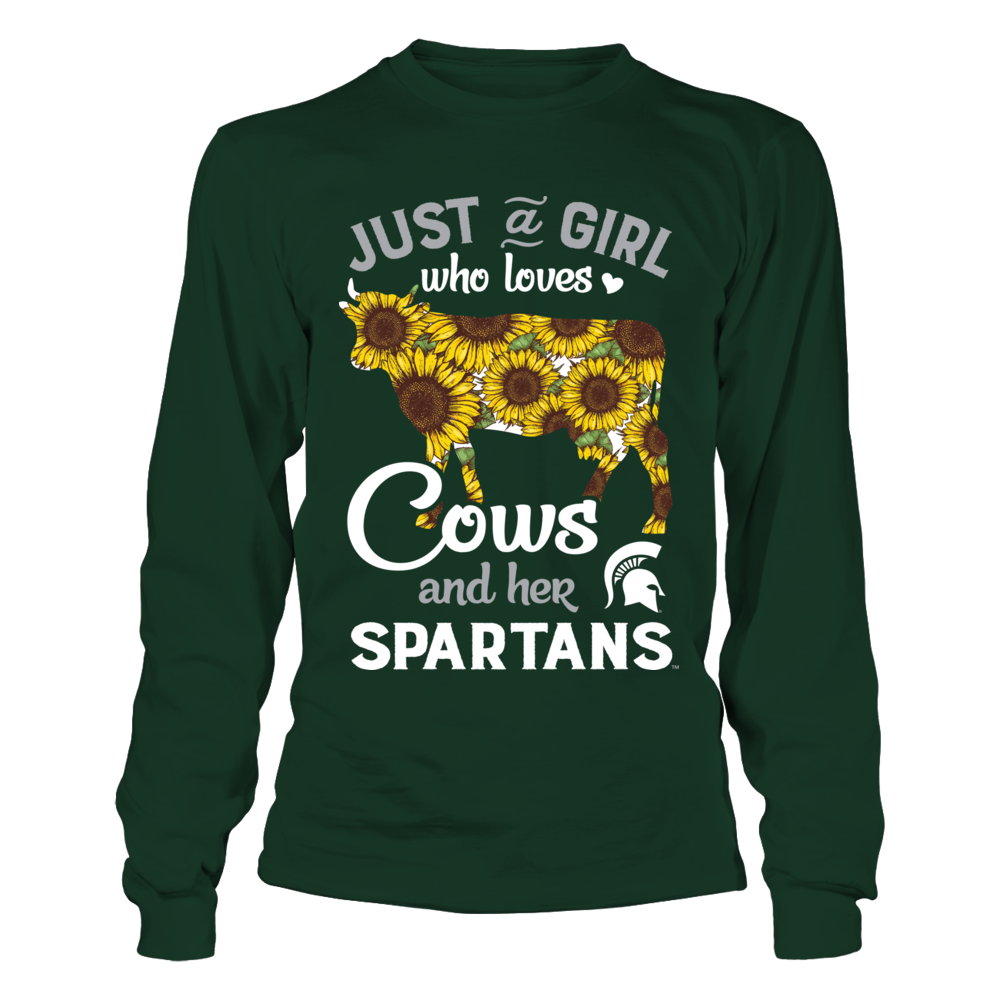 Michigan State Spartans - Farmer - Just A Girl - Sunflower Cow Front picture