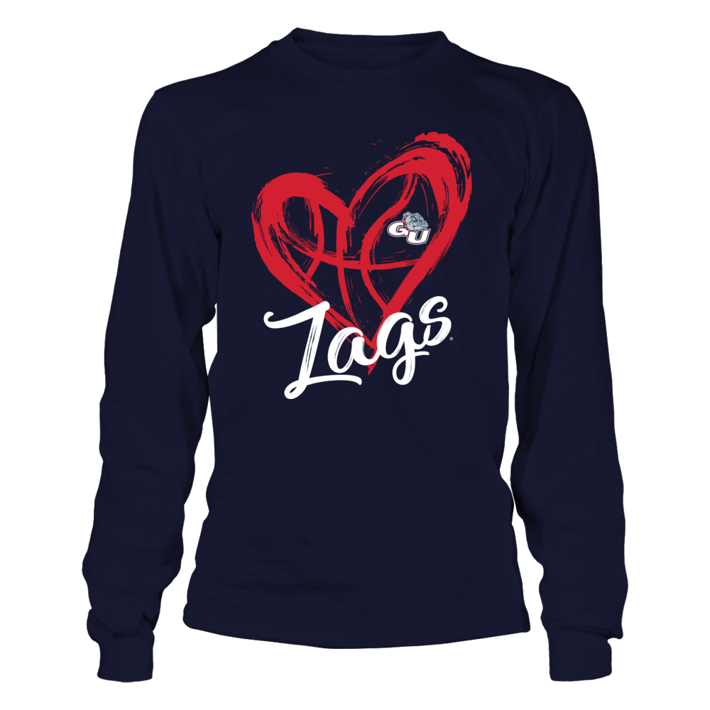 Gonzaga Bulldogs - Drawing Heart - Basketball Pattern Front picture
