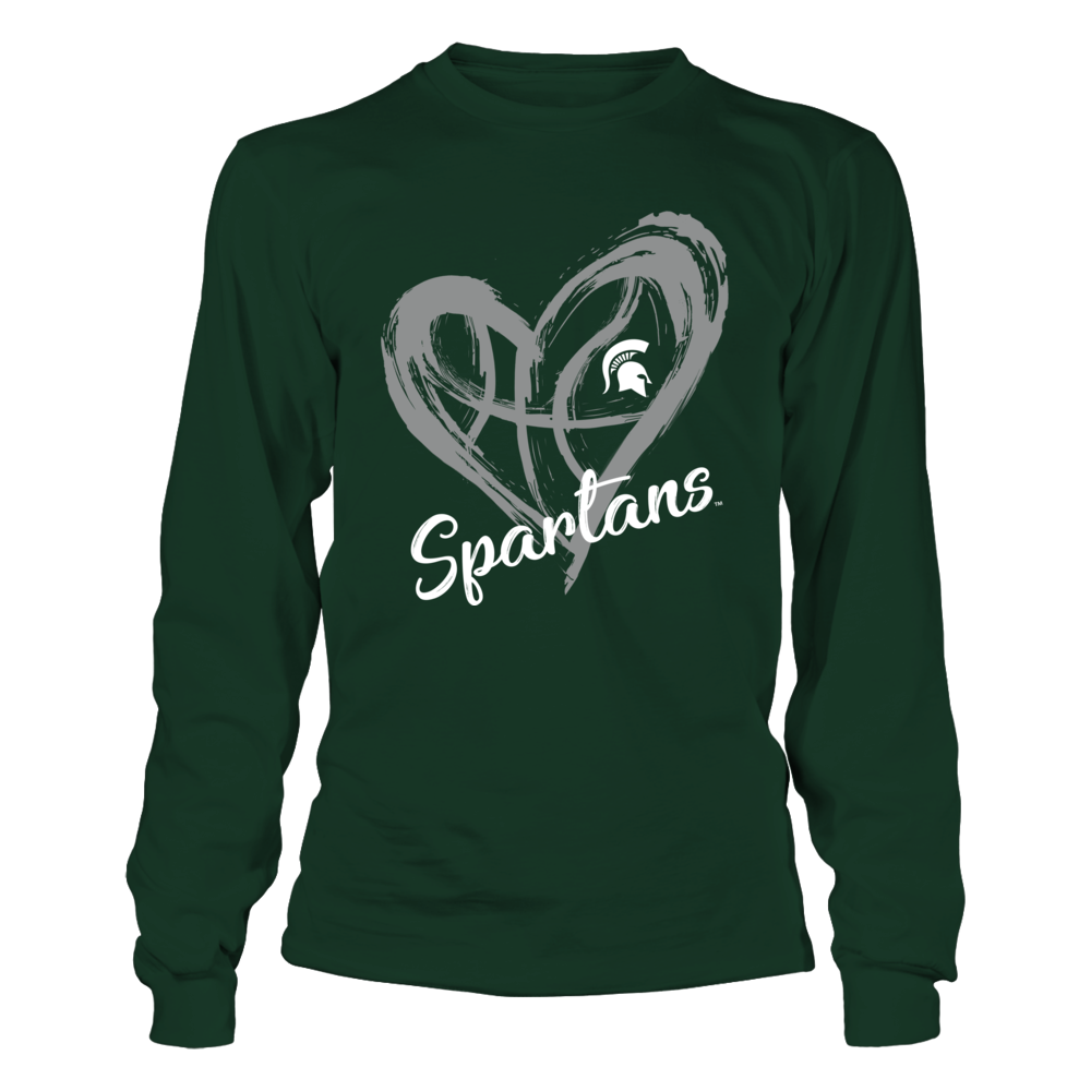 Michigan State Spartans - Drawing Heart - Basketball Pattern Front picture