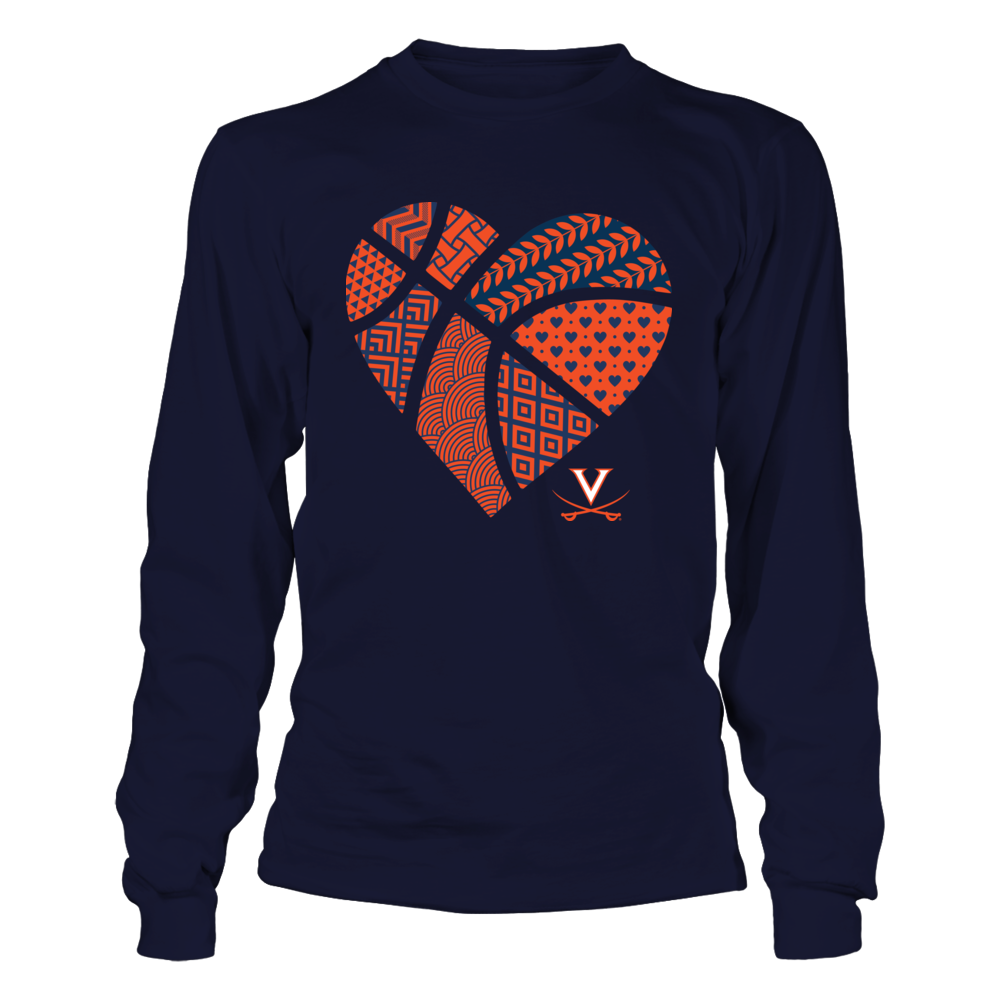 Virginia Cavaliers - Patterned Heart Basketball Front picture