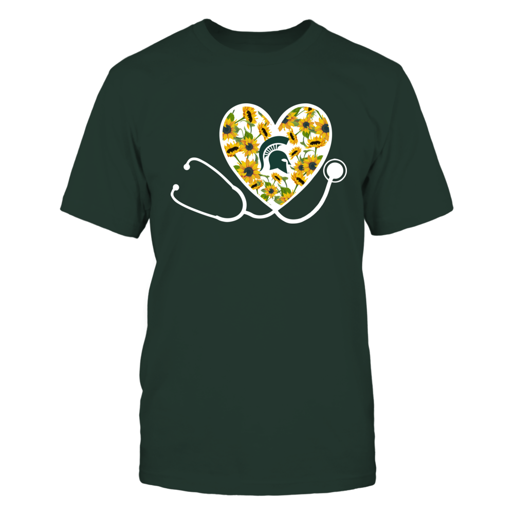 Michigan State Sparatns - Sunflower Pattern Heart Stethoscope Front picture