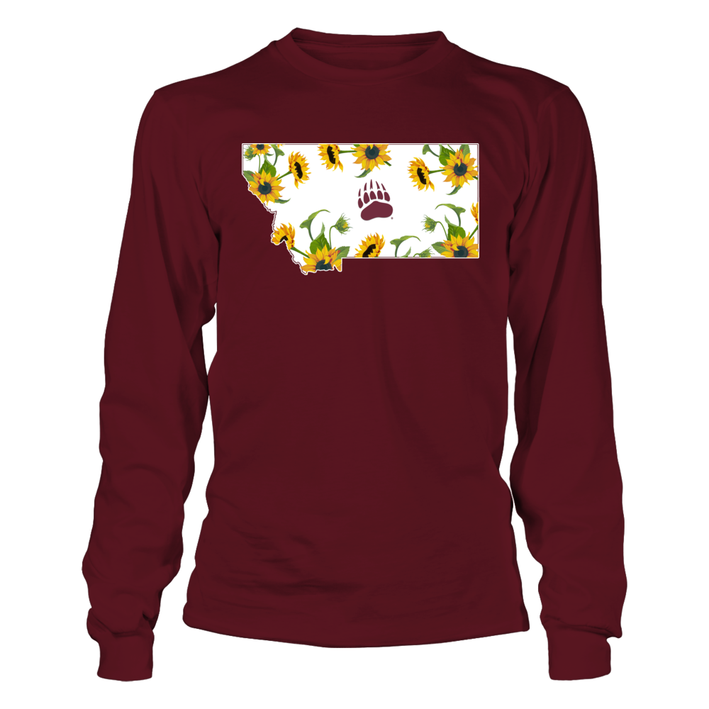Montana Grizzlies - Sunflower Pattern State Map Front picture
