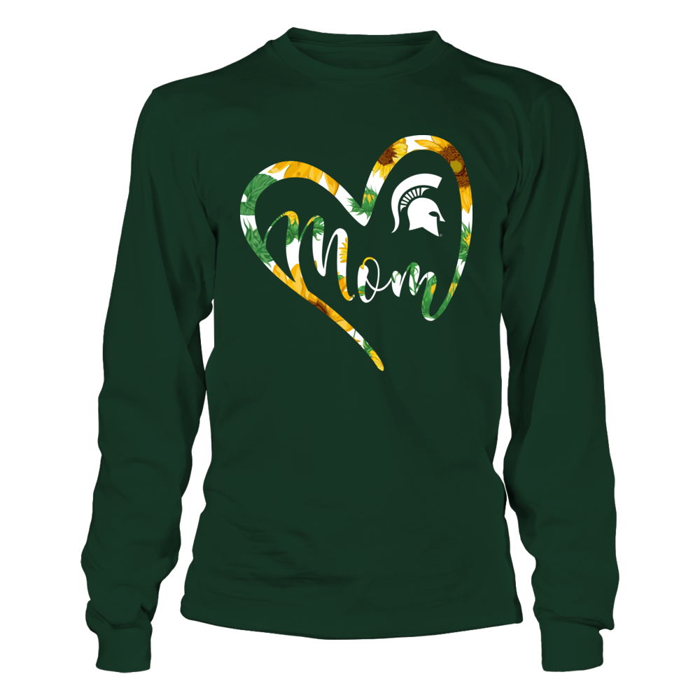 Michigan State Spartans - Heart Mom - Sunflower Pattern Front picture