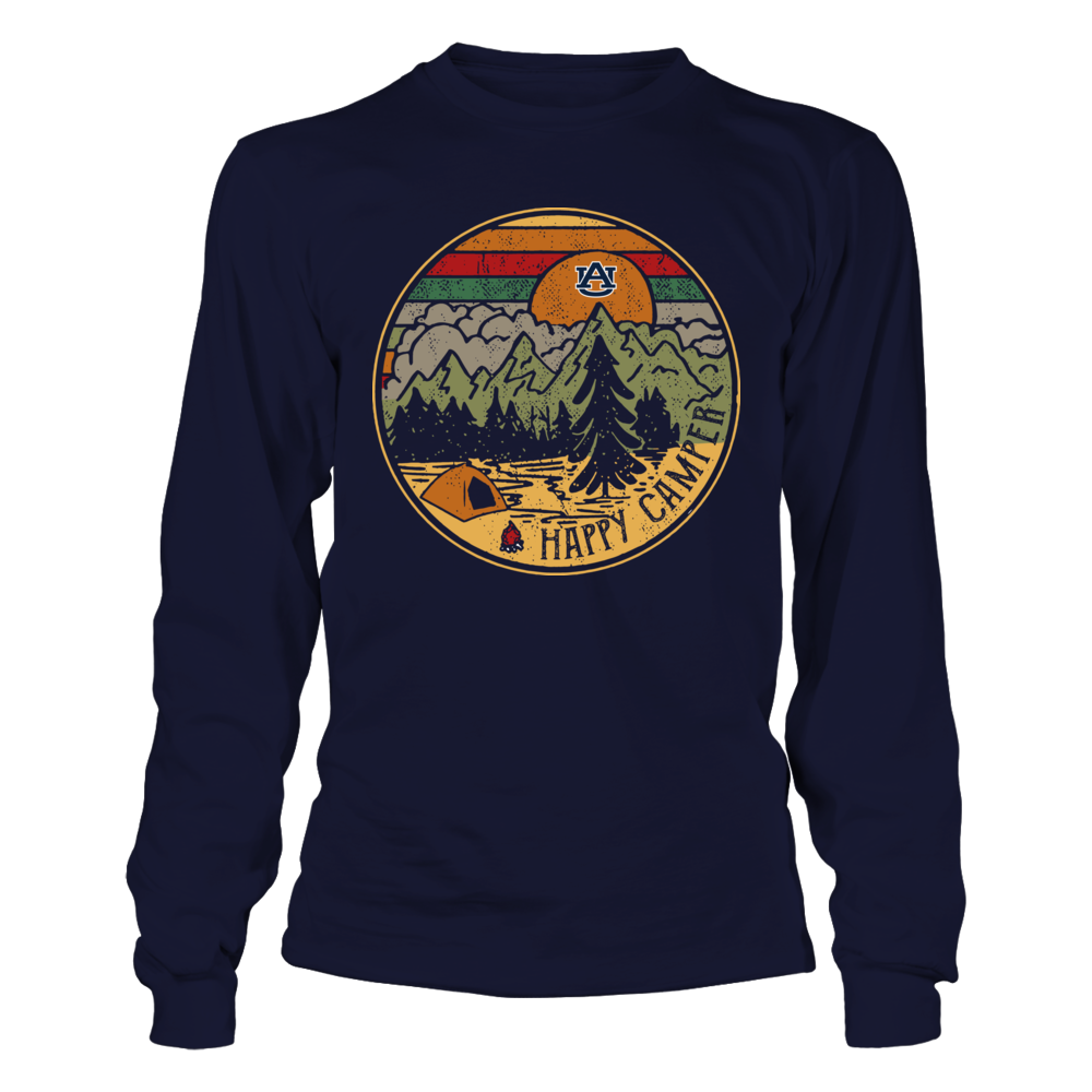 Auburn Tigers - Camping - Camping Night Circle - Happy Camper - Retro Style Front picture