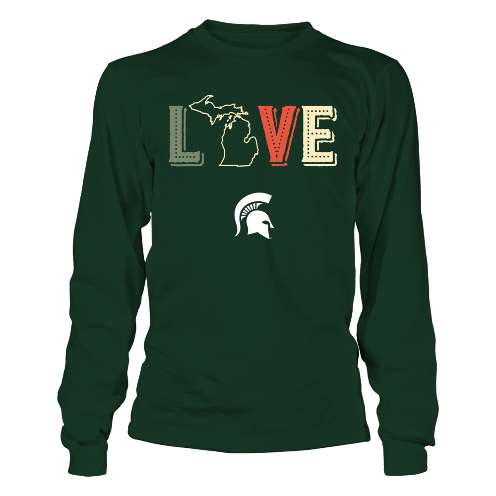 Michigan State Spartans - Love My Team - State Map - Vintage Style Front picture