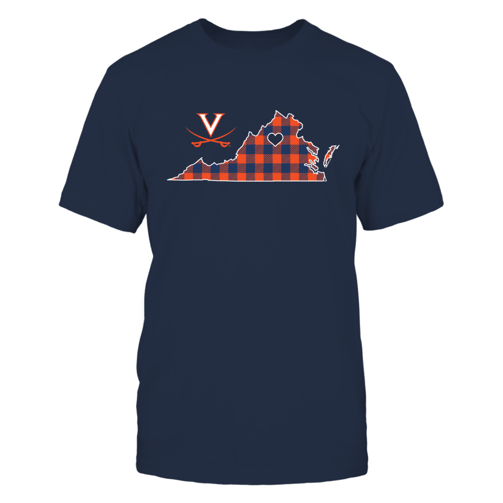 Virginia Cavaliers - Checkered Pattern State Map Front picture