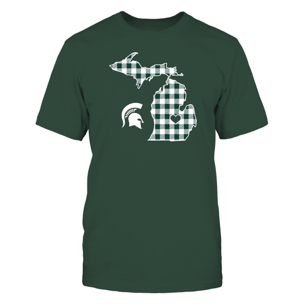 Michigan State Spartans - Checkered Pattern State Map Front picture