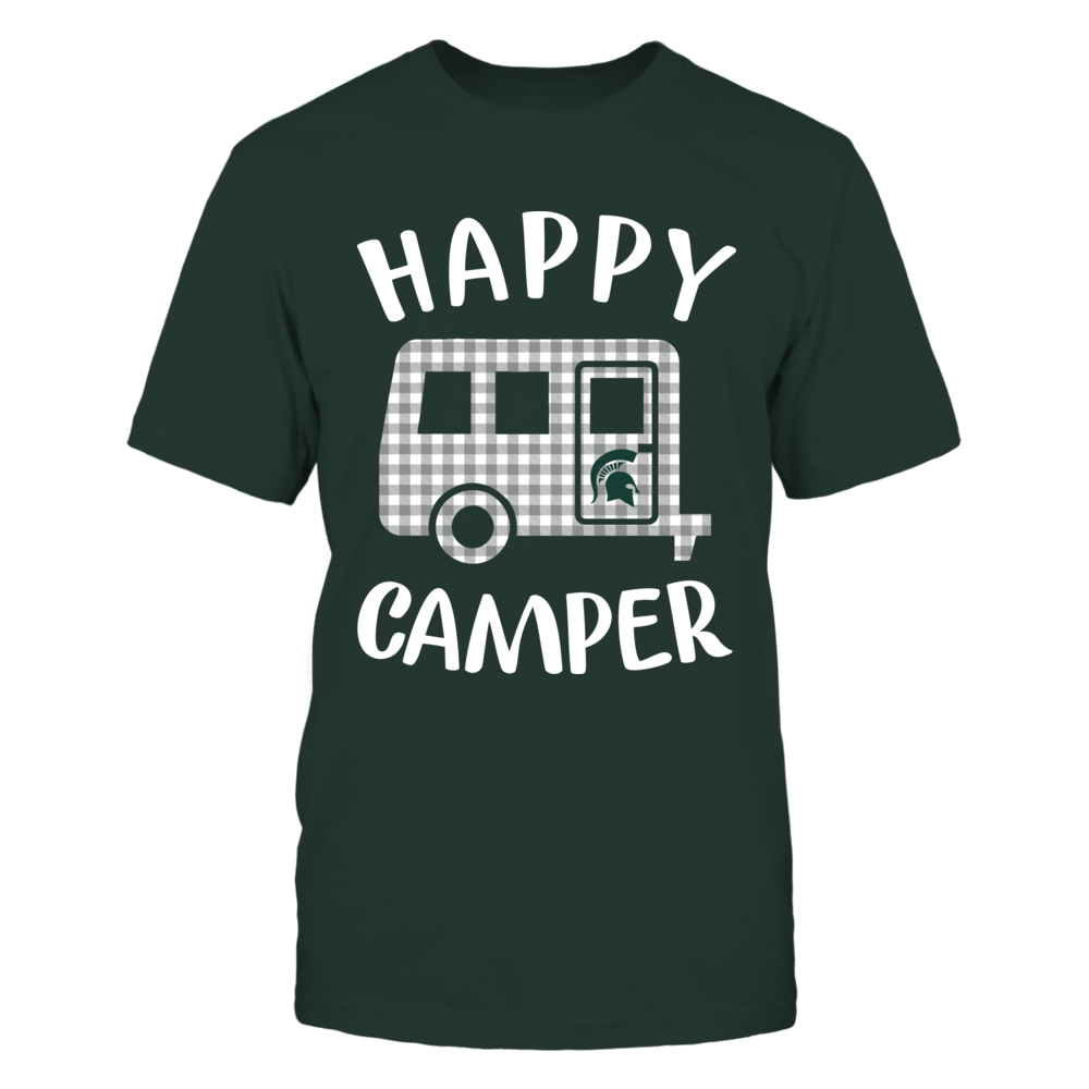 Michigan State Spartans - Camping - Checkered Pattern Camping Car - Happy Camper Front picture