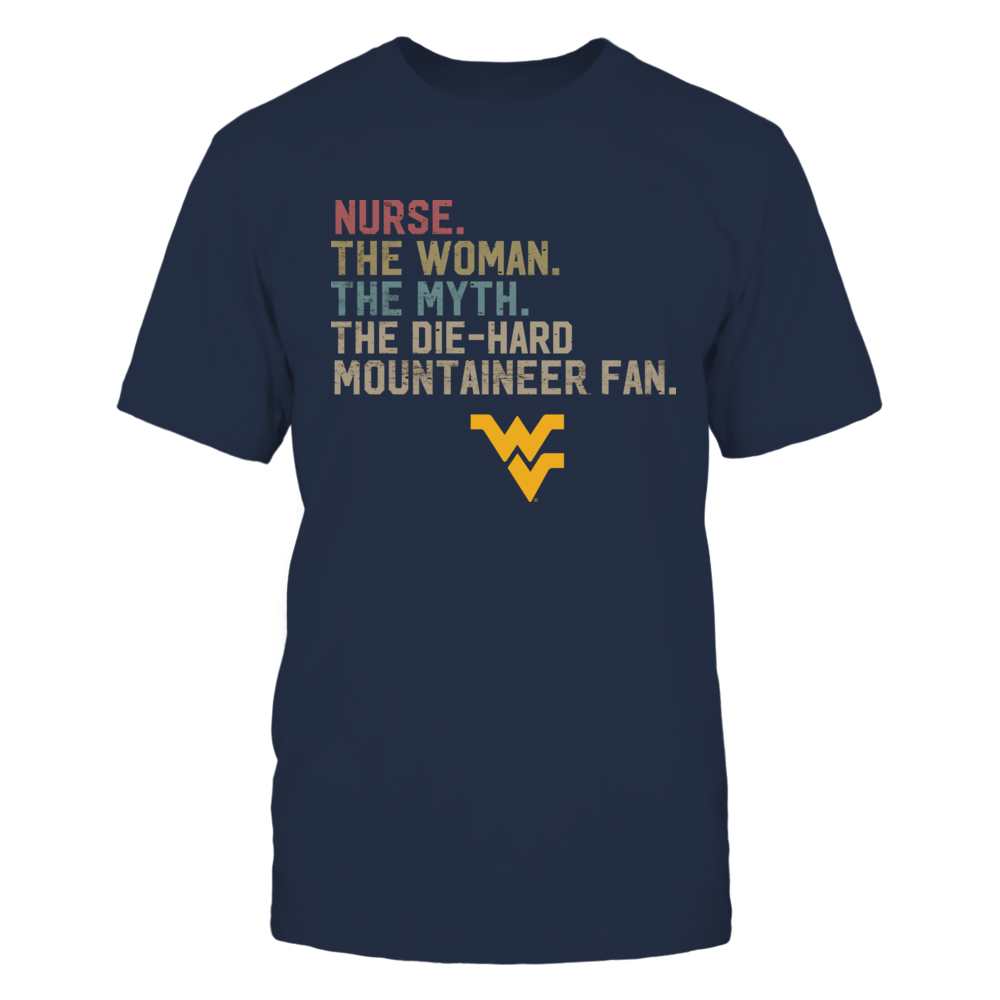 West Virginia Mountaineers - Nurse - The Woman - Myth - Legend - Retro Style Front picture