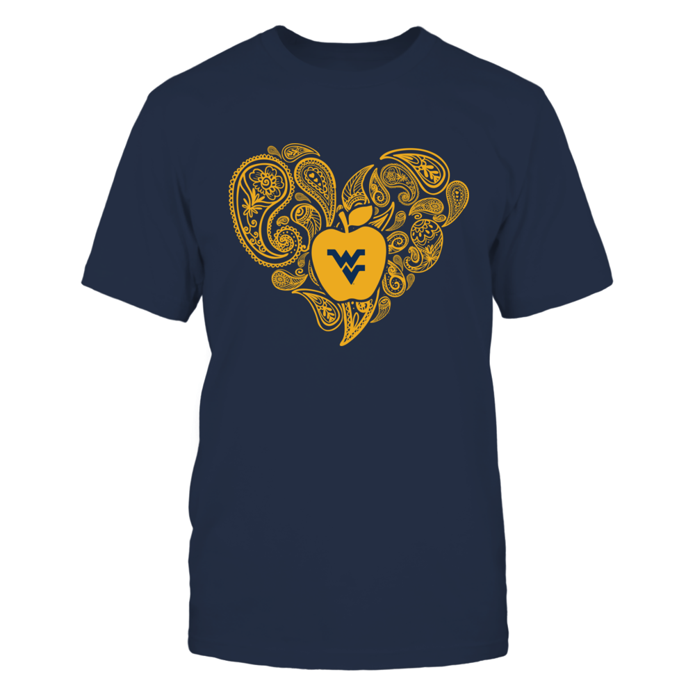West Virginia Mountaineers - Teacher - Paisley Heart - Apple Front picture