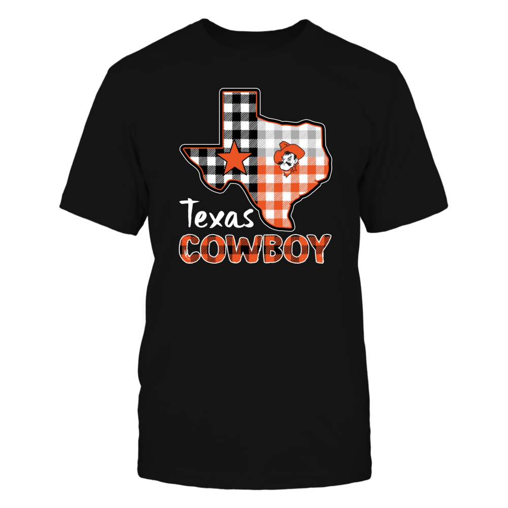 Oklahoma State Cowboys - Texas Map Mascot - Checkered Pattern Front picture