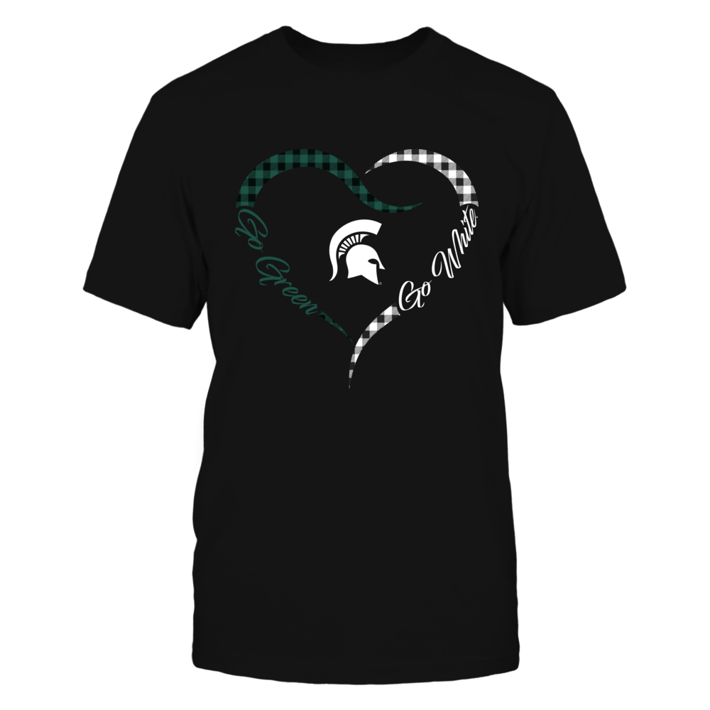 Michigan State Spartans - Half Heart - Checkered Pattern Front picture