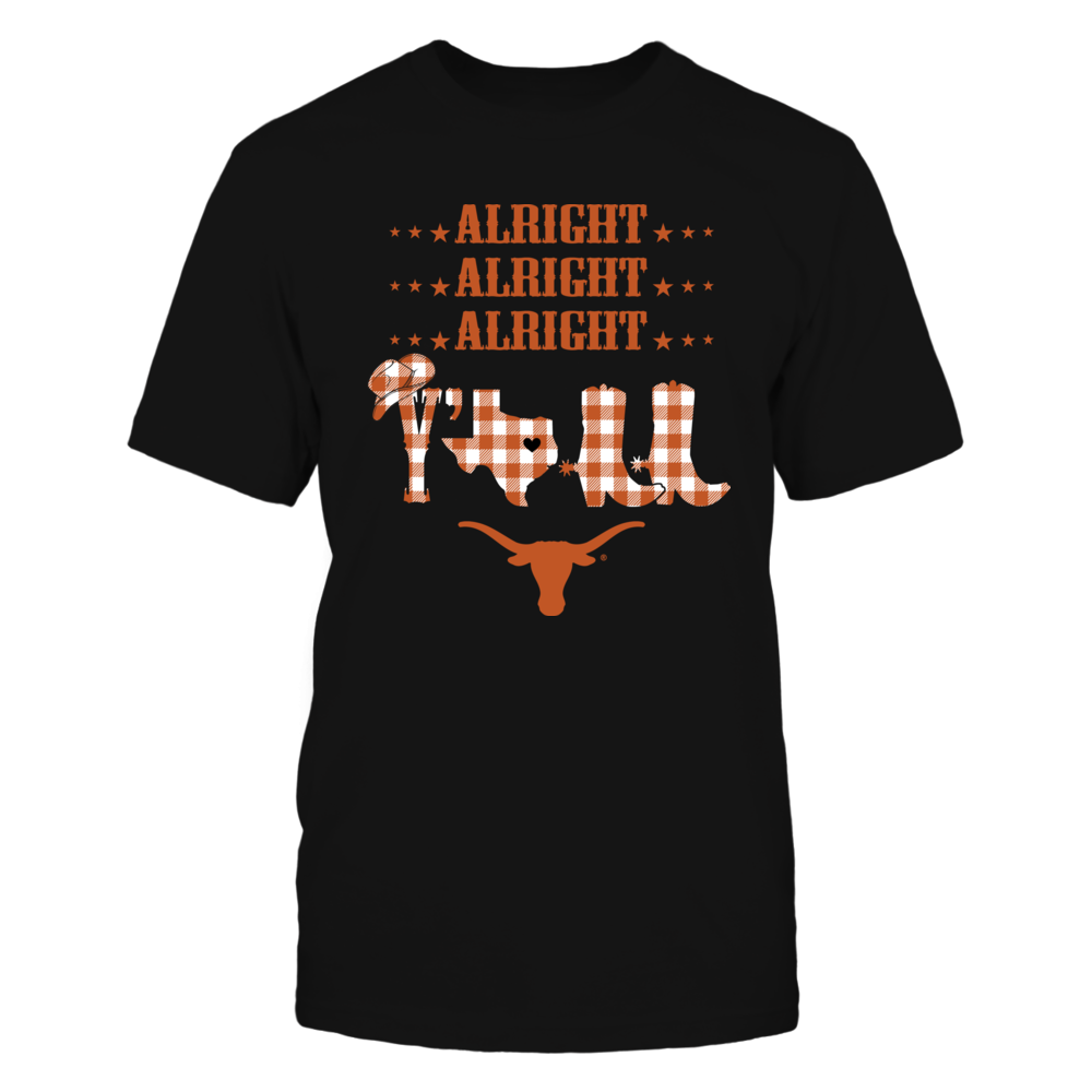 Texas Longhorns - Alright Alright Alright Y'all - Checkered Pattern - IF-IC13-DS75 Front picture