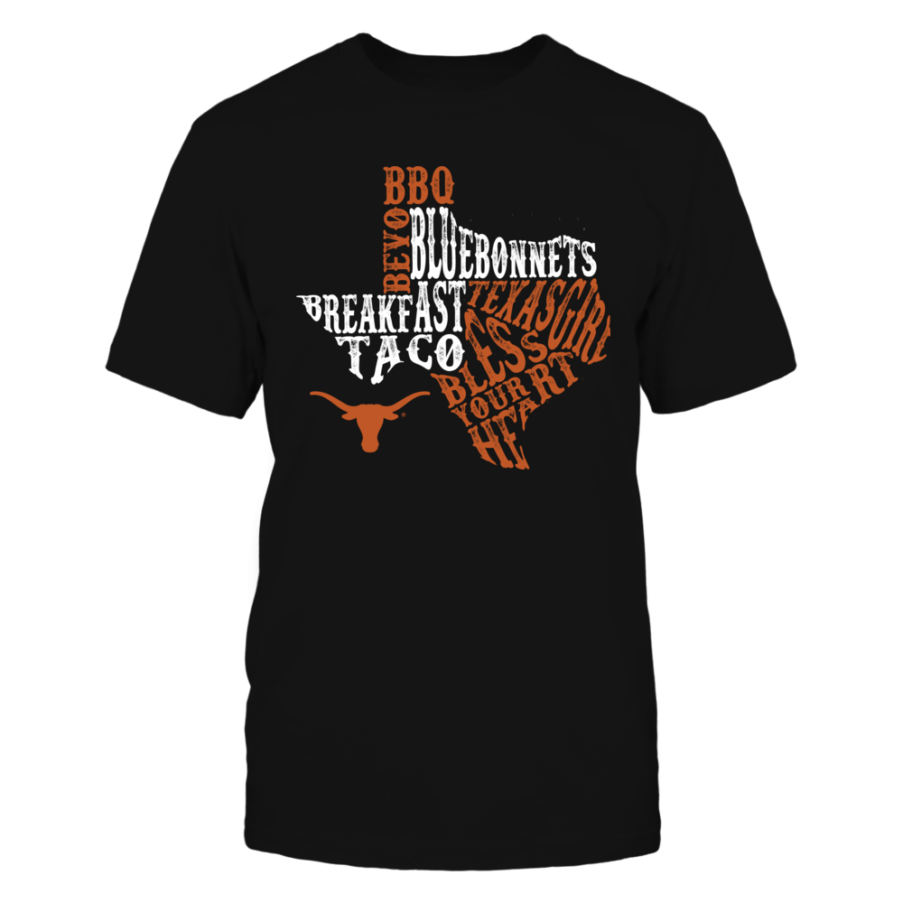 Texas Longhorns - Texas Girl Quotes Inside State Map Front picture