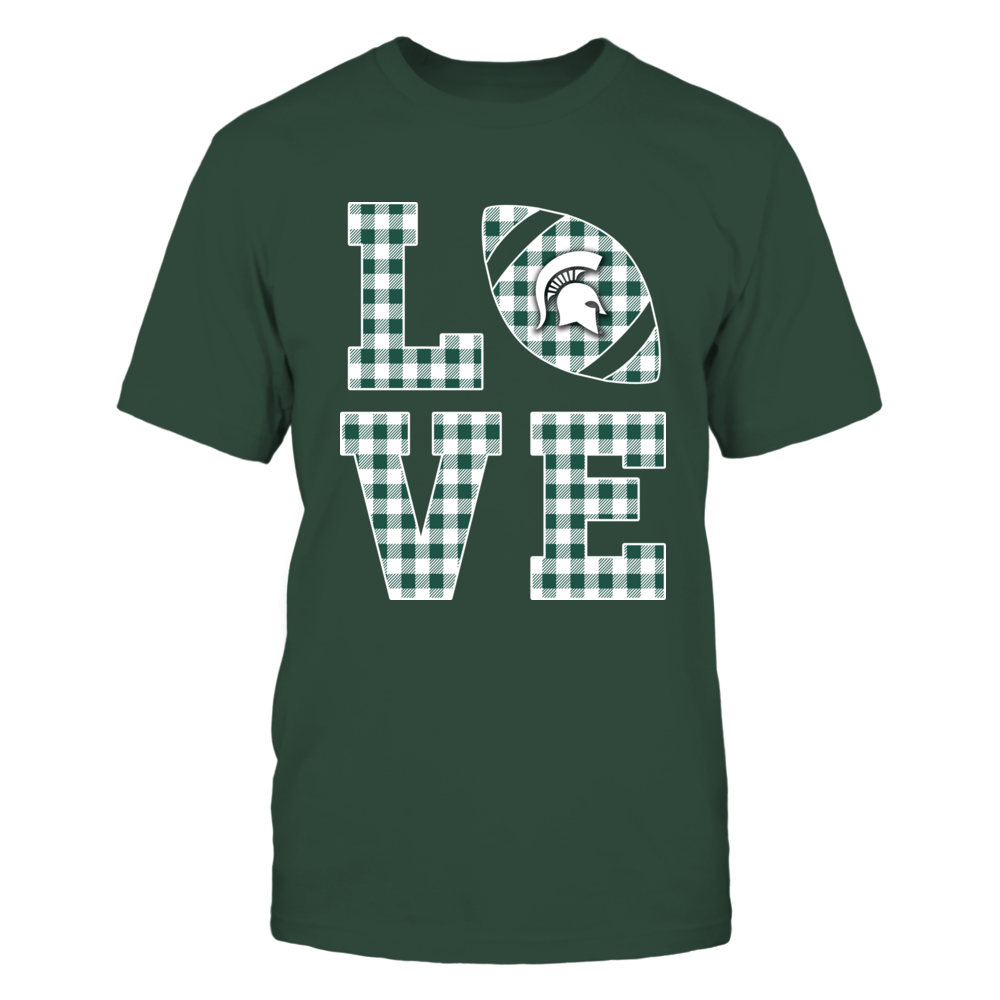 Michigan State Spartans - Stacked Love - Football - Checkered Pattern Front picture