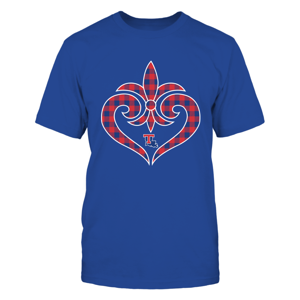 Louisiana Tech Bulldogs - Fleur De Lis Heart - Checkered Pattern Front picture