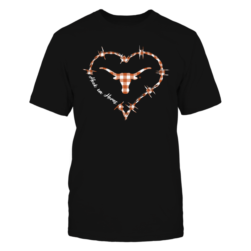 Texas Longhorns - Barbed Wire Heart Checkered Pattern Front picture
